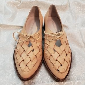 Jeffrey Campbell Blush Tan Woven Top Loafers